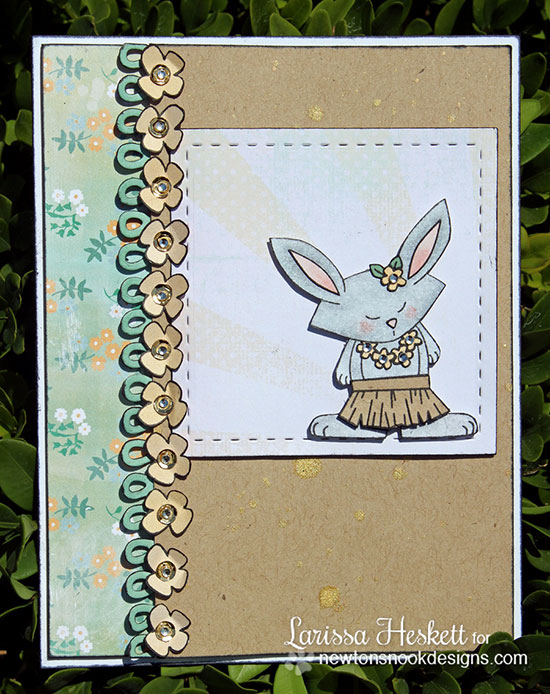 Hula dancing Bunny card by Larissa Heskett for Newton's Nook Designs | Beach Party Stamp Set