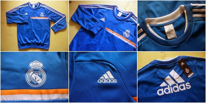 Detail Sweater GO Training Real Madrid Blue 2014 Terbaru Big Match Jersey