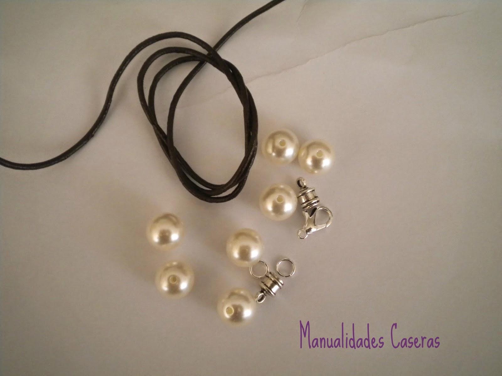 Pulsera de cuero y perlas Manualidades Caseras Inma