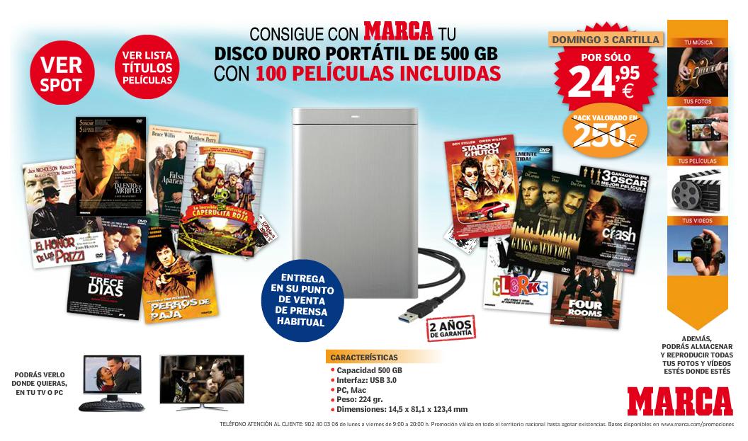 Disco Duro 500 GB promoción Marca con 100 películas