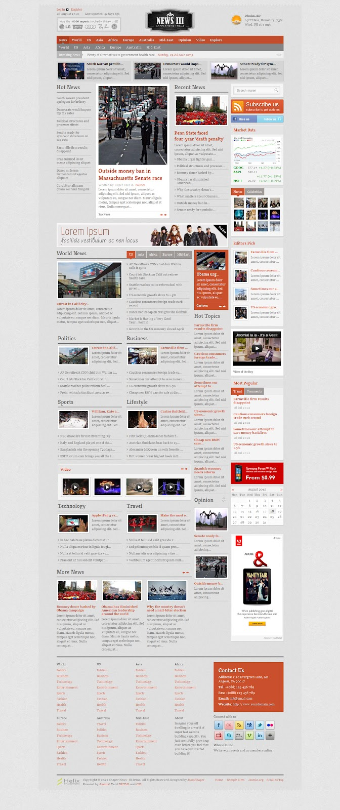 premium newspaper joomla 2 5 template shape news iii premium