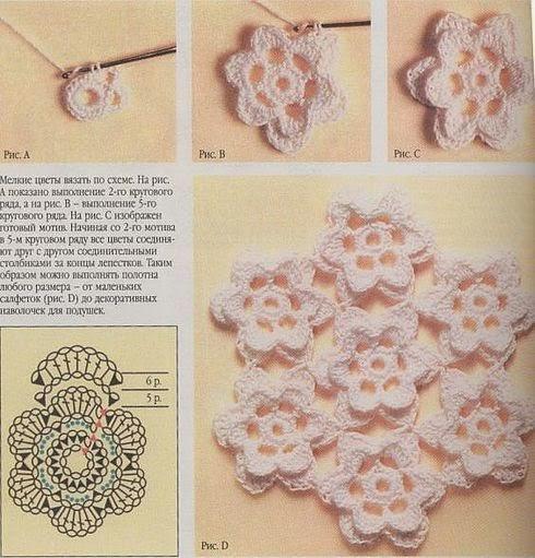 Cómo hacer flores al crochet y unirlas entre sí