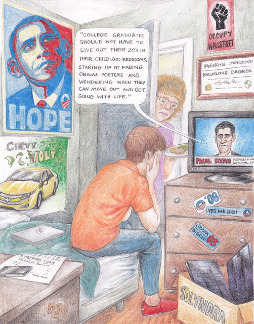 conservative political cartoons, fading obama posters, paul ryan