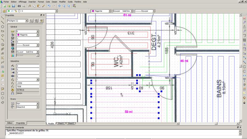 Vue du logiciel de calepinage pour plancher chauffant