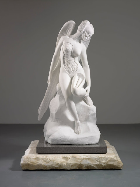 Marble Angel with body open revealing organs and intestines etc