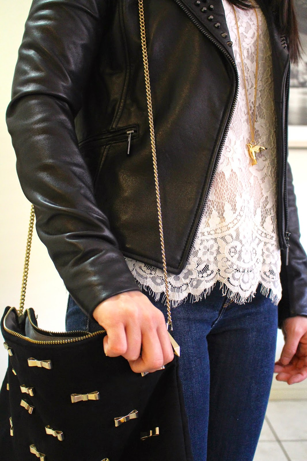 Dark wash denim jeans, cream lace t-shirt top, black studded leather jacket, black booties, gold long bird necklace, everyday outfit, dinner outfit, petite girl outfit, winter outfit, fall outfit, autumn outfit