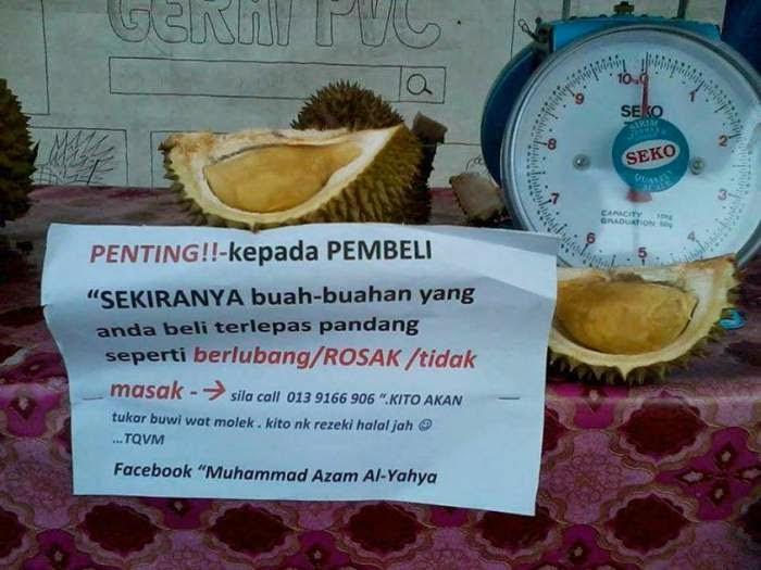 Contoh Peniaga Durian Jujur