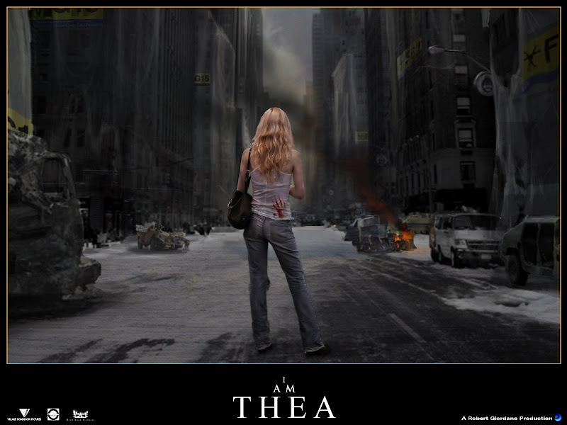 photo of Thea photoshopped into a scene from a zombie apocalypse, composite by Robert Giordano