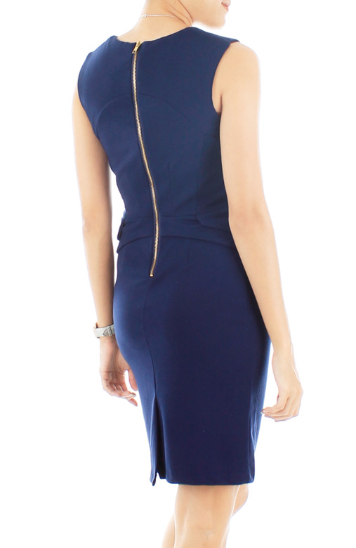 Sculpted Dream Peplum Dress – French Navy