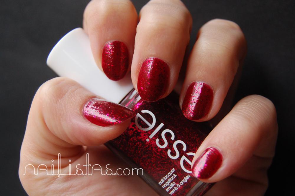 Essie >> Leading Lady // Esmalte de uñas rojo con glitter // Swatch ...