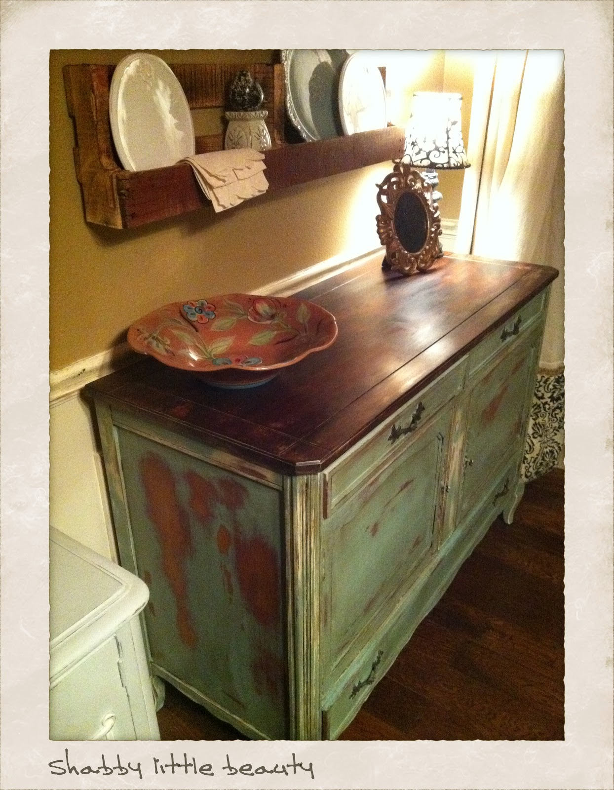 Lovely Painted Top, Distressed And Stained And Dark Waxed.