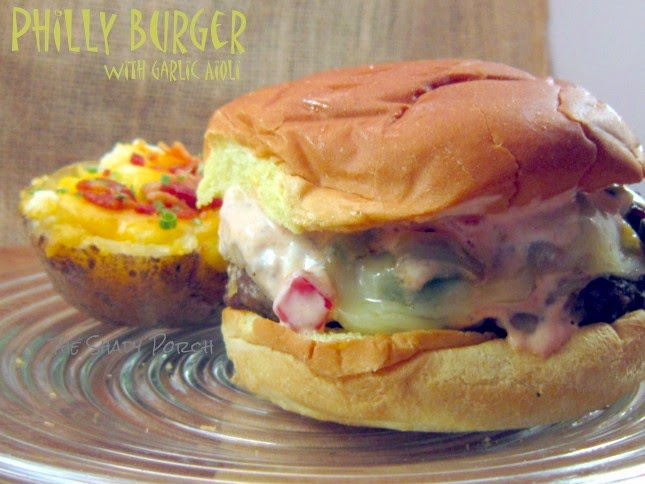 Grilled Philly Burgers with Garlic Aioli