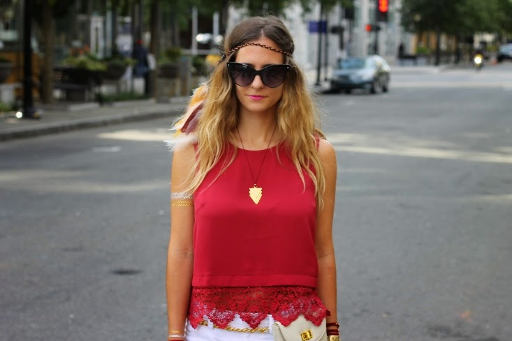 Garnet Crop Top with Gold Feather Headband