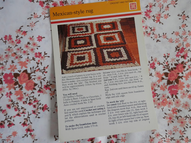 Retro seventies mexican rug pattern.  secondhandsusie.blogspot.co.uk