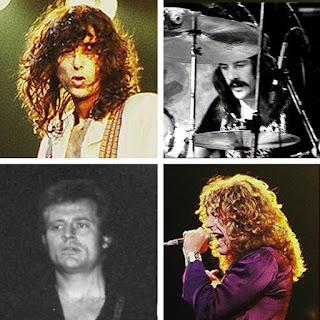 Montaje con cuatro fotografías de Led Zeppelin: Jimmy Page, John Bonham, John Paul Jones y Robert Plant. Fuente Wikipedia