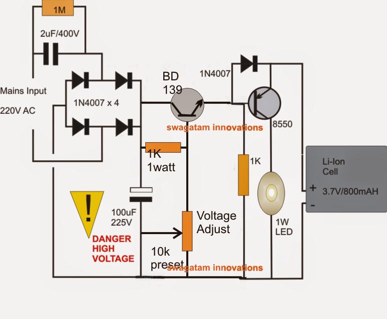 1 watt led emergency lamp circuit using li ion battery 1 watt led emergency lamp circuit voltage regulated