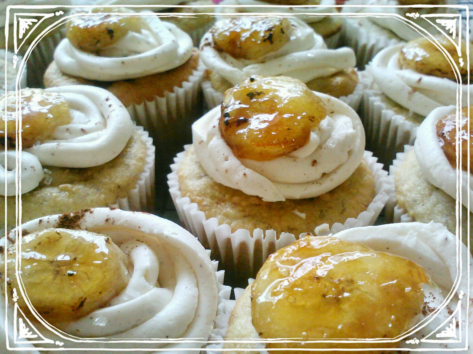 candied banana cupcakes