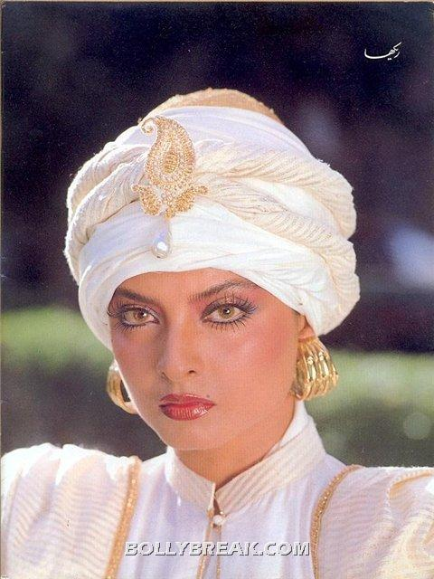 rekha white turban dress HOT - (4) - Rekha Hot Pics - 1980's 1970's Rekha Photo Gallery