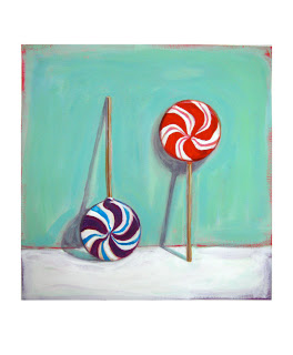 lollipop painting, junk food art, original gouache painting by Jeanne Vaeboncoeur