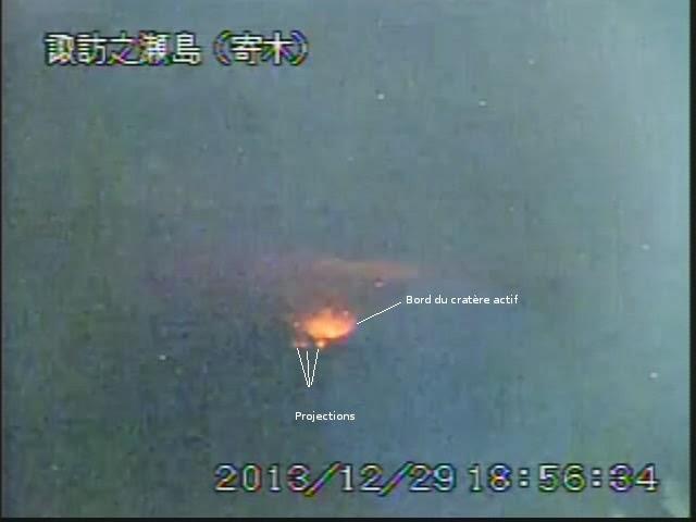 Activité strombolienne du volcan Suwanose-Jima, 29 decembre 2013