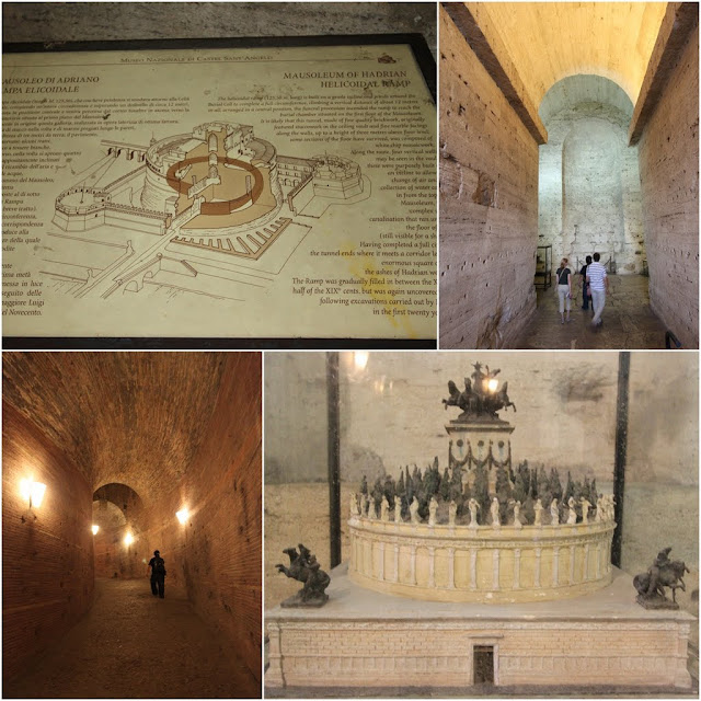 The map and a spiraling corridor inside the Castel  Sant'Angelo in Rome, Italy