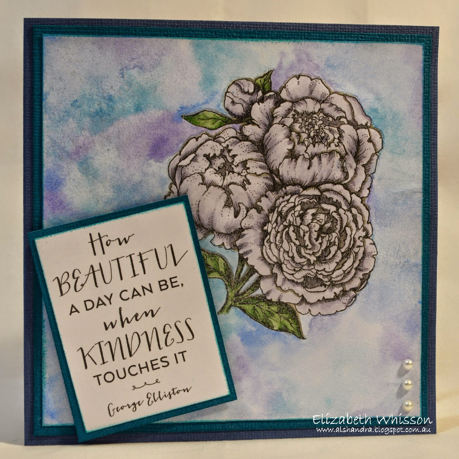 Elizabeth Whisson, PowerPoppy, peonies, handmade card, Copic, watercolour pencils