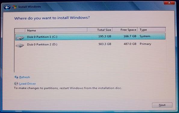 instal window step load driver