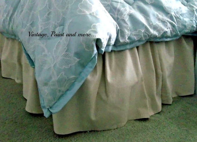 Updated Master Bed - drop cloth bed skirt, diy bed skirt from drop cloth fabric