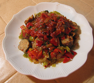 Plate of Tomato Sauce over Vegetarian Sausage and Peppers