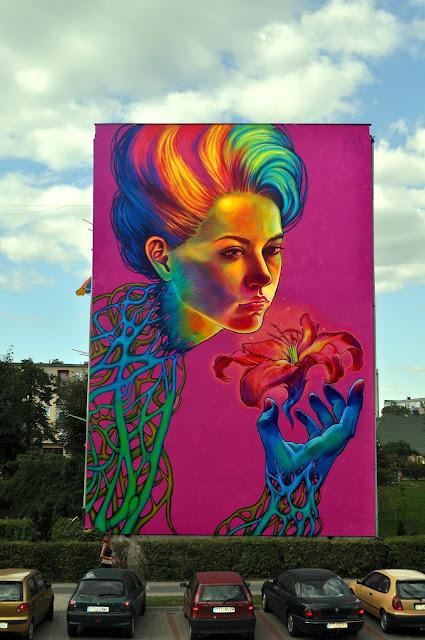 """SpellBound"" New Street Art Mural By Natalia Rak In Turek, Poland. - full view"