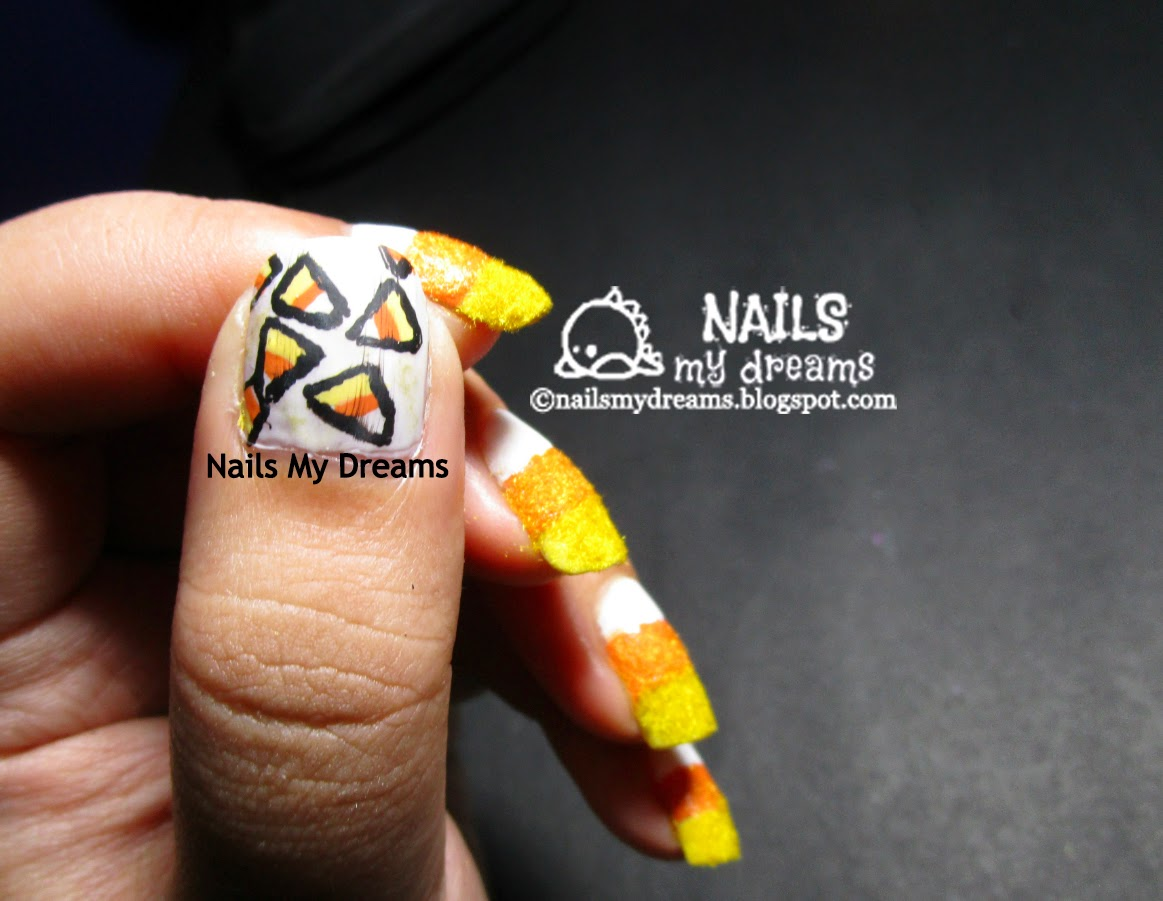 candy corn nail art textured with flocking powder thumb nail