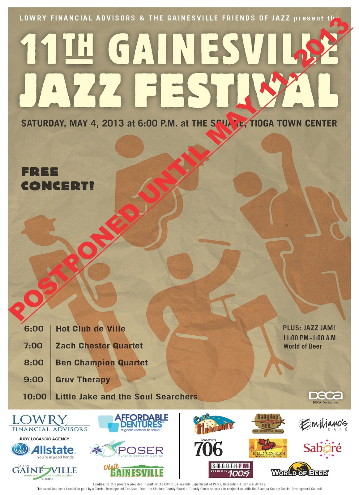Gainesville Jazz Festival - POSTPONED UNTIL MAY 11TH DUE TO WEATHER