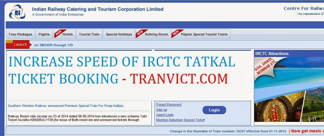 Increase Speed of IRCTC
