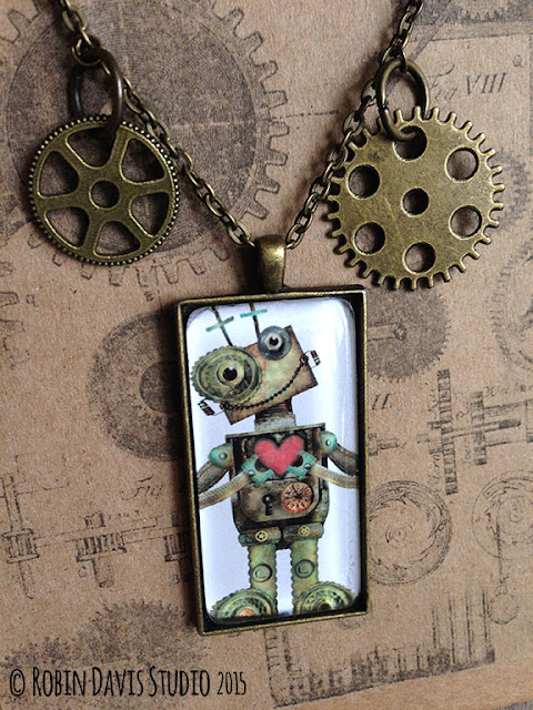 Robot necklaces by Robin Davis Studio