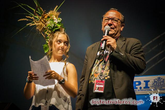 Hervé Bordier y la madrina infantil del festival RioLoco 2015