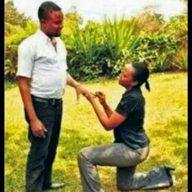 A Woman Gets Down On Her Knee To Propose For Marriage