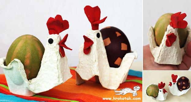 galinha feita com caixa de ovo para lembrancinhas
