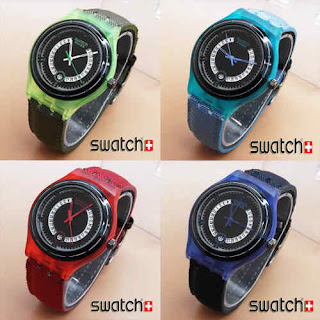 jual jam wanita kw super swatch rotation kanvas