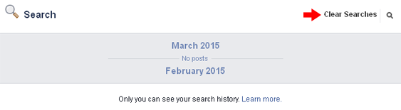 facebook clear searches