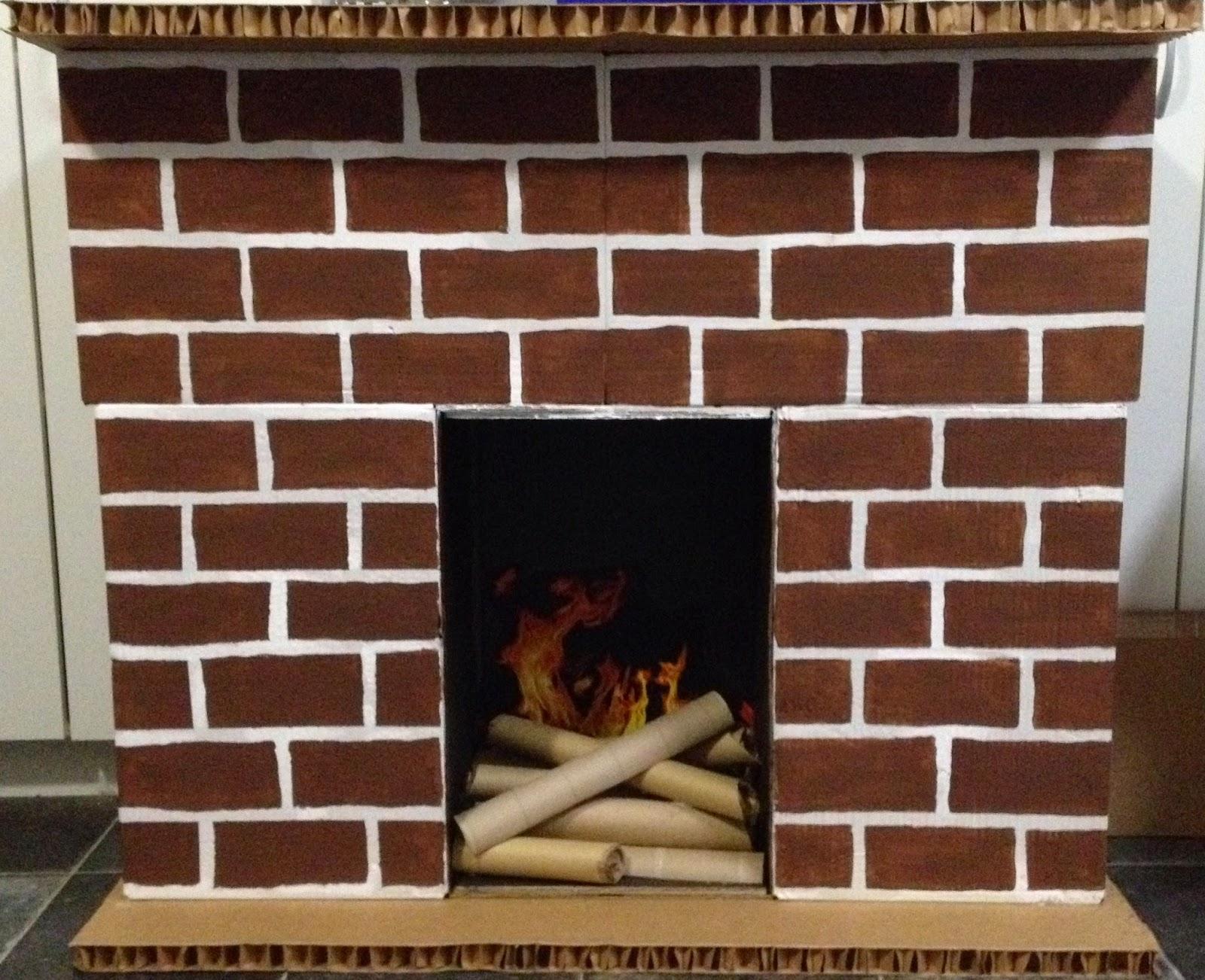 stick this diy cardboard fireplace