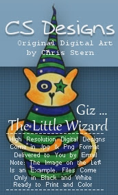 Giz Cat Wizard Ditital Stamp