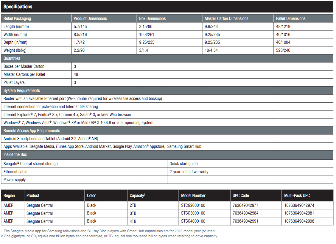 Seagate Central Network Attached Storage screenshot 3 specifications