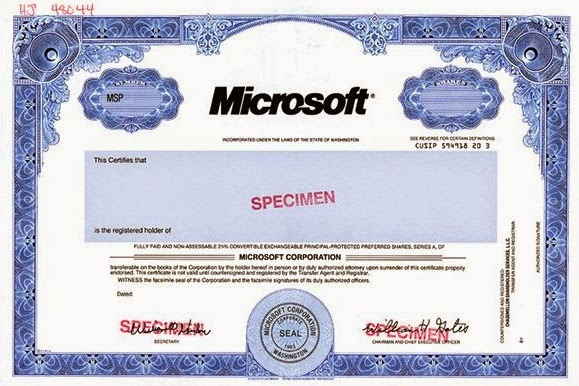 Microsoft share certificate with signature Bill Gates