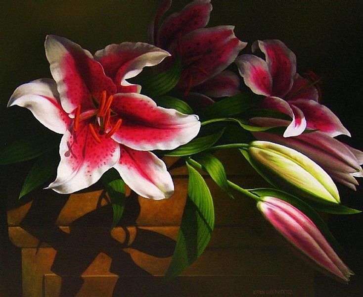 Im genes arte pinturas bellas flores pintadas al leo for Cuadros verticales grandes