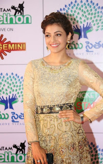 Kajal Aggarwal Pictures in Designer Evening Dress at Memu Saitam Dinner with Stars Red Carpet ~ Bollywood and South Indian Cinema Actress Exclusive Picture Galleries