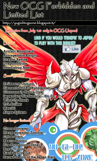 OCG Forbidden and Limited List 1st July 2014
