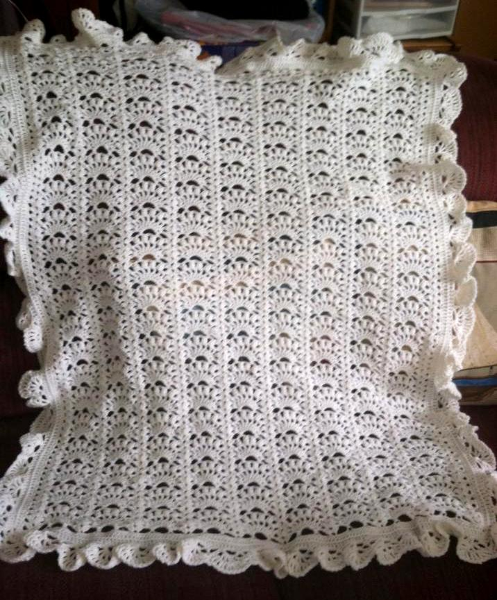Lacy Crochet Border For Fancy Shells Baby Afghan