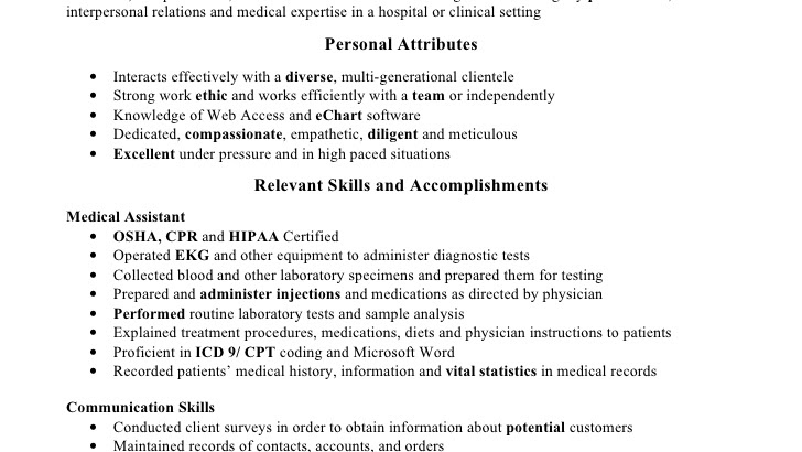 medical assistant medical assistant resume skills assistant