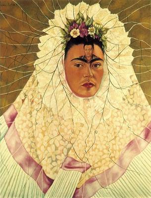 Frida Kahlo autorretrato pensando em Diego