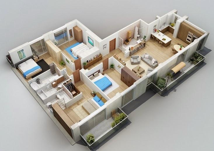 desain denah rumah 1 lantai 4 kamar tidur tampilan 3D